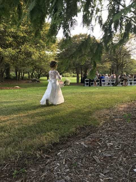 outdoor ceremony in woods and indoor reception